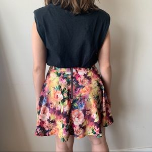 A-Line Neon Floral Skirt